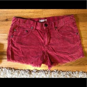 Red Corduroy Free People Shorts